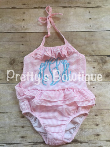 Girls Monogrammed Swimsuit -- Seersucker Swimsuit- Ruffled Baby Swimsuit -- One piece Girls- Monogrammed Bathing Suit-- 12M through 5/6 - Pretty's Bowtique