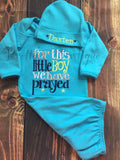 Baby boy coming home outfit -For this Little boy I or WE have Prayed- newborn gown and personalized hat - Baby shower gift - Pretty's Bowtique