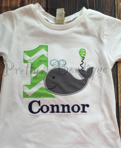 Boys Whale 1st Birthday Shirt Or Bodysuit