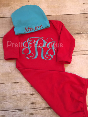 Baby boy coming home outfit -- monogrammed gown-- Monogramed newborn gown and hat -- baby shower gift - Pretty's Bowtique