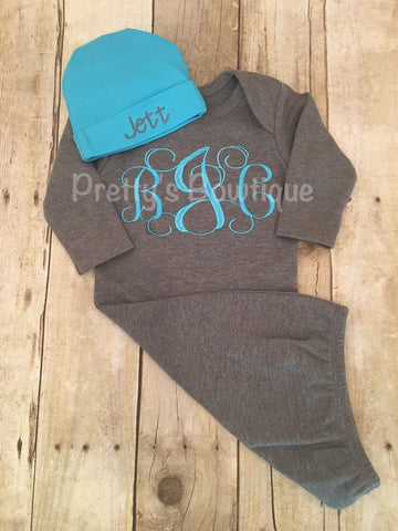 183e9cb6d7a4 Newborn boy coming home outfit -- Monogrammed Baby Gown and ...