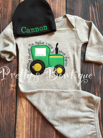 Newborn baby Boy gown and Hat Set Personalized with Name - Coming Home Farm Baby Outfit -- Farm outfit -- - Pretty's Bowtique