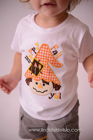 Boys Scarecrow Fall T shirt or bodysuit - Fall scarecrow t shirt Halloween/Thanksgiving Shirt for babies, toddler, and children-- Happy Fall