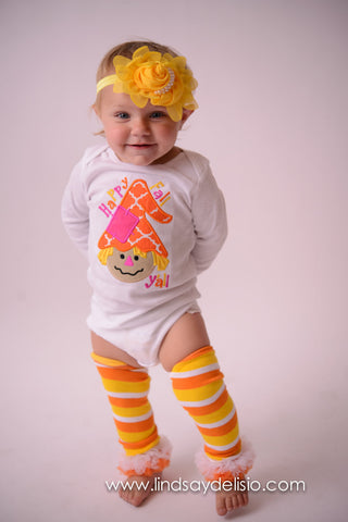 Happy Fall Yall Shirt for Girls with Scarecrow -- Sizes Newborn to Youth 14