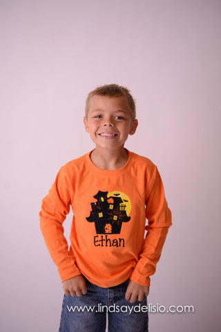 Boys Halloween shirt or bodysuit - haunted house with moon and bats- boys shirt or bodysuit personalized - Pretty's Bowtique