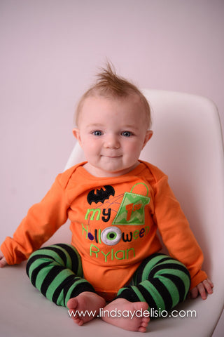 Baby Halloween Bodysuit or Shirt with Leg Warmers for Boy Personalized with Name -- Newborn to 18 Months - Pretty's Bowtique