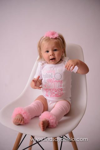 Girls Daddy Asked and mommy said YES bodysuit or T-Shirt - Perfect for Engagement photos 3pc set - Pretty's Bowtique