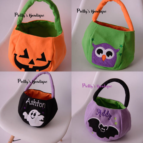 Personalized Halloween Bag Trick or Treat Bucket - 4 Designs Available - Pretty's Bowtique