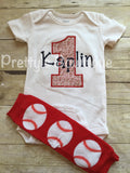 Baseball Theme Birthday Shirt and legwarmers - Birthday shirt with age - Baseball personalized with name in navy blue - Boys Baseball Shirt - Pretty's Bowtique