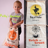Personalized Halloween Sack with Drawstring - Trick or Treat Bag- Halloween Tote– 3 Designs Available - Pretty's Bowtique