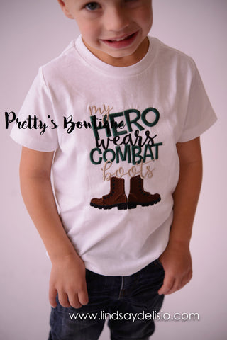 My Hero wears combat boots t-shirt or bodysuit - Embroidered Toddler T-shirt - Baby Shower Gift- Military Son/Daughter- Military T shirt - Pretty's Bowtique