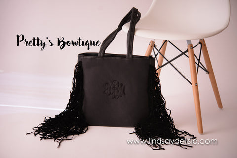 Black Fringe Purse -- Monogram Bag in Faux Leather with Embroidered Initials – Also in White, Red and Brown - Pretty's Bowtique
