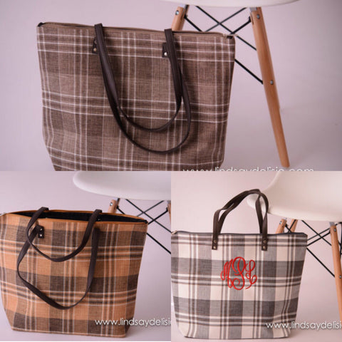 Plaid Purse for Fall -- Monogrammed Bag with Faux Leather Handles