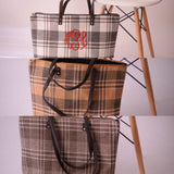 Plaid Bag for Fall with FREE Embroidered Monogram and Faux Leather Handles - Pretty's Bowtique