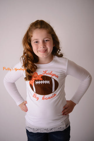 Girls Football shirt or bodysuit for babies, toddler, and children.  You pick team colors - Pretty's Bowtique
