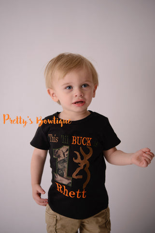 1st Birthday Camo Boy Bodysuit / T Shirt Customizable for Any Age, Personalized with Name -- This lil Buck is one - Pretty's Bowtique