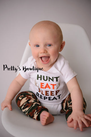 Hunt Eat Sleep Repeat bodysuit or t shirt and camo leg warmers - Baby boys coming home outfit -camo-deer-hunting-little hunter-Boys t shirt - Pretty's Bowtique