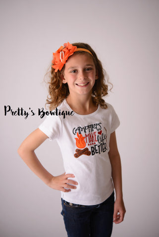 Campfires make life better-- Girls Camping shirt-- Camping bodysuit/Shirt -- Girls flower Headband -- Camp Shirt-- - Pretty's Bowtique