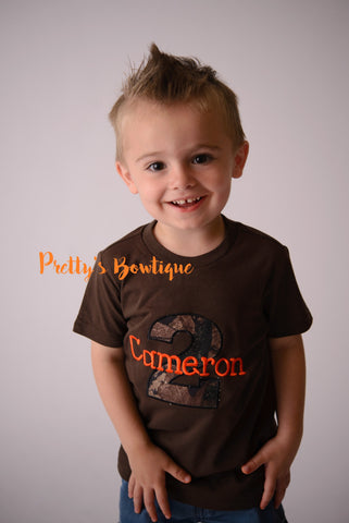 Birthday Camo Boy Bodysuit / T Shirt Customizable for Any Age, Personalized with Name -- Camo Birthday tee shirt--1 st birthday-- 2nd 3rd - Pretty's Bowtique
