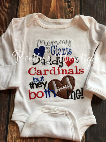Mommy loves the (you pick team) daddy loves the (you pick team) but the both love me football -- House divided football - Pretty's Bowtique