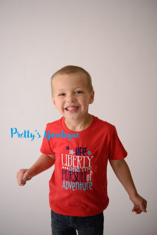 Boys 4th of July shirt-- Life Liberty and the pursuit of adventure -- Fourth of July bodysuit or shirt 4th of July Boys - Pretty's Bowtique