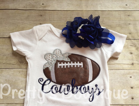 Girl Cowboys football outfit-- Girls Football Shirt ONLY-- Any team or colors -- Girls Football--SHIRT ONLY - Pretty's Bowtique
