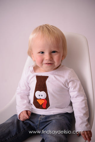 Boy Thanksgiving T Shirt / Bodysuit for Baby, Toddler & Child Turkey Tie - Pretty's Bowtique