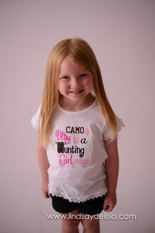 Camo and Bling it's a hunting girl thing t shirt or bodysuit - PINK - Can customize colors -- Girls Camo Shirt - Pretty's Bowtique