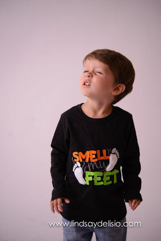 Smell My Feet Funny Halloween Shirt for Boys 3 Months to 14 Years - Pretty's Bowtique