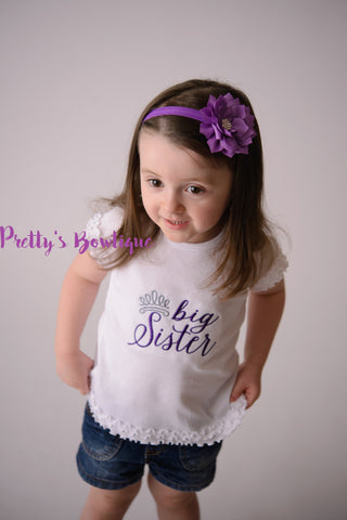 Big Sister Princess--Big Sister Shirt-- Personalized Shirt-- Sibling Sister Shirt Pregnancy Announcement Shirt-- Baby Announcement Shirt-- - Pretty's Bowtique