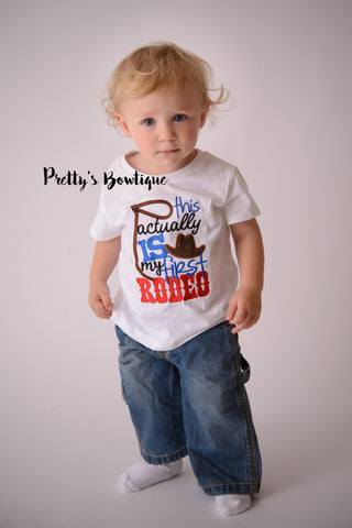 This acutally is my first rodeo -- Boys Bull rider t shirt-- Baby boy rodeo bodysuit-- Boy Bull rider Bodysuit--western t-shirt--Rodeo shirt - Pretty's Bowtique