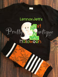 Boys 1st Halloween Outfit with Ghost Bodysuit or T-Shirt and Legwarmers in Sizes 3M to 24 Months - Pretty's Bowtique