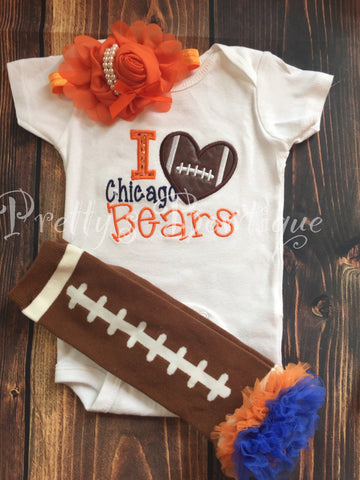 Girl Bears footbal -- Girls Football Shirt-- SHIRT ONLY -- Any team or colors -- i love chicago - Pretty's Bowtique