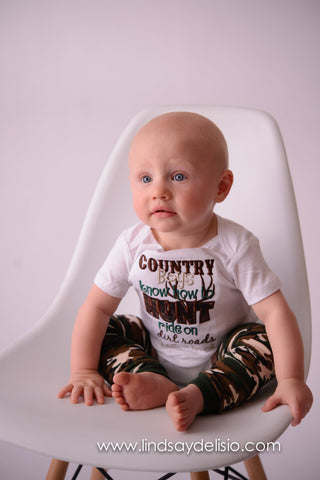 Boys Hunting shirt -- Country boys know how to hunt ride on dirt roads & bait a hook bodysuit or shirt.  Can customize colors and wording - Pretty's Bowtique