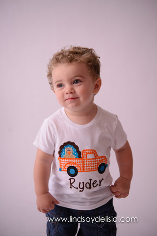 Boys Thanksgiving Turkey bodysuit or Shirt - Turkey shirt for babies, toddler, and children -- Pick Up truck Thanksgiving Shirt - Pretty's Bowtique