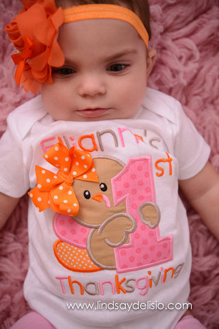 Baby Girl First Thanksgiving Bodysuit or Shirt Personalized with Name - Pretty's Bowtique