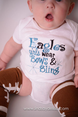 Girls Football Shirt-- Eagles girls like bling bodysuit or t shirt  colors can be customized for any high school or team - Pretty's Bowtique