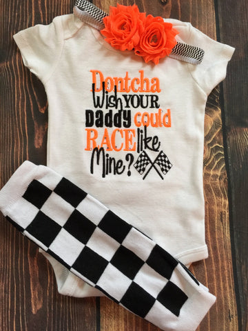 Dontcha wish your daddy could race like mine? bodysuit, leg warmers and headband.  Can customize colors - Pretty's Bowtique