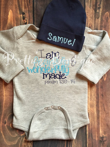 Baby boy coming home outfit bodysuit and beanie -- I am fearfully & wonderfully made psalm 139:14.  Perfect coming home outfit - Pretty's Bowtique