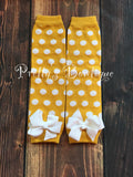 Baby Leg Warmers for Babies and Toddlers in Yellow and White Polka Dots - Pretty's Bowtique