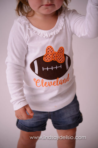 Cleveland Browns Baby or Girls Football Shirt or Bodysuit -- Sizes 3 Months to XL 14 - Pretty's Bowtique