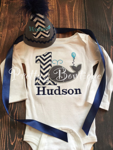 Boys Whale 1st Birthday Outfit Shirt Or T