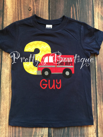 Boys Firetruck Birthday Shirt any age you can pick colors and fabrics -- Fireman Birthday shirt - Pretty's Bowtique