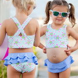 Girls Monogrammed Swimsuit -- Paisley Bikini- Ruffled Baby Swimsuit --2 pc Girls- Monogrammed Bathing Suit-- 12M through 5/6 - Pretty's Bowtique