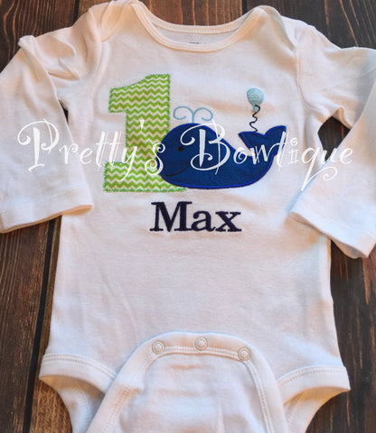 Boys Whale 1st Birthday Shirt or Bodysuit  - Custom Birthday outfit Whale -- Matches Party City Ocean Preppy - Pretty's Bowtique