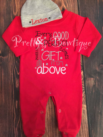 Baby Boy Coming Home Outfit -- Every good and perfect gift comes from above James 1:17 Romper & Hat with Embroidered Name - Pretty's Bowtique