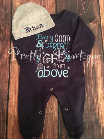 baby shower gift going home outfit hospital set baby boy gown set Every good and perfect gift is from above gift for mom