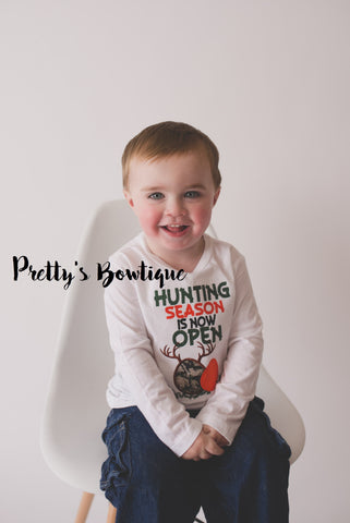 Boys Hunting Season now open-- Boys Hunting Easter shirt or bodysuit-- Boys Easter Shirt -- Camo Easter Shirt - Pretty's Bowtique