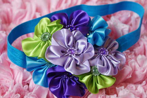 Cluster Satin Flowers with Rhinestone embellishments headband Purple, Green, and turquoise - Pretty's Bowtique