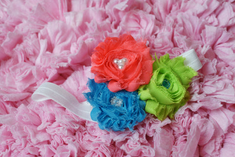 Flower headband Shabby rose triple flower salmon, lime & blue mix on white elastic headband - Pretty's Bowtique